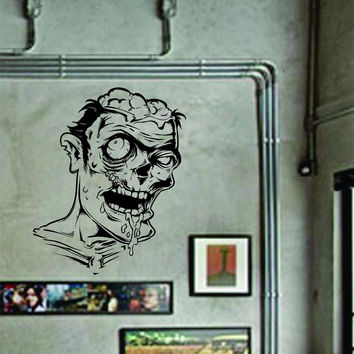 Zombie Face Wall Decal Sticker the Walking Dead Mural Art Graphic