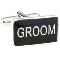 Groom Wedding Marriage Black Square Men Cufflinks