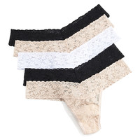 Five-Pack Low-Rise Thongs, Basic Colors, Size: ONE SIZE, MULTI COLORS - Hanky Panky