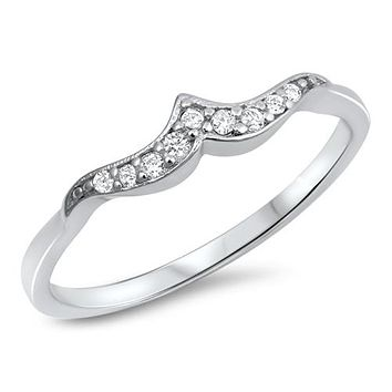 A Perfect .6TCW Russian Lab Diamond Mini Wave Wedding Band Ring