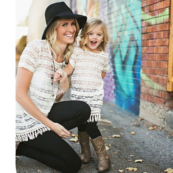 Beautiful Mommy & Me Cream/White Lace Fringe Tunic Top