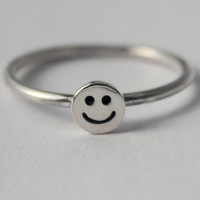 Sterling Silver Tiny Smiley face, 925 petite stacking Ring, Fun Christmas stocking gift, friendship ring, Novelty, Halloween custume