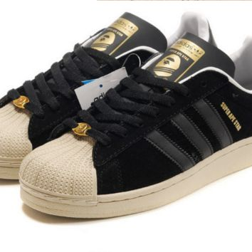 """Adidas"" Fashion Shell-toe Flats Sneakers Sport Shell-toe Shoes Black golden"