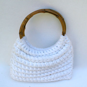 Vintage Macrame Purse with Bamboo Handles
