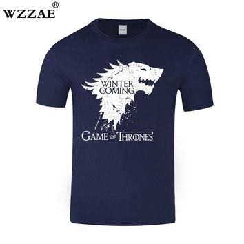 WZZAE Tshirt 2018 New Game of Thrones T Shirt Men Cool The North Remembers Blood Wolf T-shirt Men's Tee Shirts Camisetas Hombre