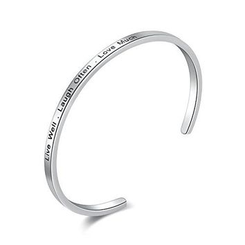 Candyfancy Inspirational Messaged Stainless Steel Cuff Bangle Bracelet For Women Girls Men