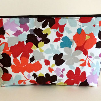 Japanese Flower Extra Large Cosmetic Bag Toiletry Bag Travel Bag Makeup Bag