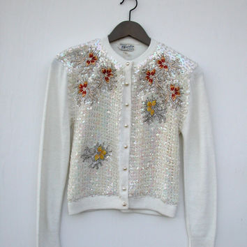 Vintage Sequin and Embroidered Floral Cardigan in Winter White: Size S