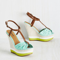 Cause a Sun-Sation Wedge in Stripes | Mod Retro Vintage Heels | ModCloth.com
