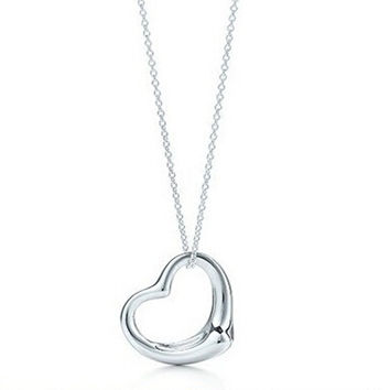 simple silver peach heart necklace