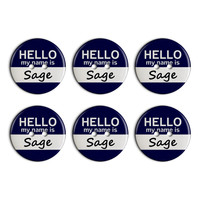 Sage Hello My Name Is Plastic Resin Button Set of 6