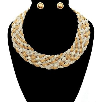Chain Twisted Dramatic Necklace Set