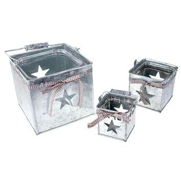 Square Tin Buckets with Star Punch Out, Silver, Assorted Sizes, 3-Piece