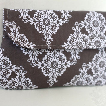 Grey clutch in lace prints, grey and white clutch, bridesmaid clutch