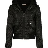 LE3NO Womens Zip Up Quilted Puffy Jacket with Hood (CLEARANCE)