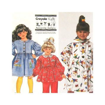 Simplicity 9891 Uncut Pattern  Girls Dress or Smock Top Pants Scarf   Size 2 3 4 5 6 6X Crayola Kids