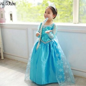 Aini Babe Fancy Princess Blue Evening Dress For Girl Birthday Role-play Children Costume Kids Party Wear Teen Girl Clothes 3-10T