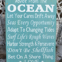 Advice From The Ocean Wood Sign, Beach Wedding, Hand Painted House Decor, Love Quote Poem, Nautical