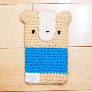 Crochet Bear Phone Case - Bear Phone Pouch - Bear Pouch - Crocheted Cell Phone Cozy - Cute iPhone Case - Kawaii Phone Pouch - Crochet Case