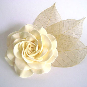 Ivory Rose and Skeleton Leaves Bridal Hair Clip.Wedding Hair Fascinator