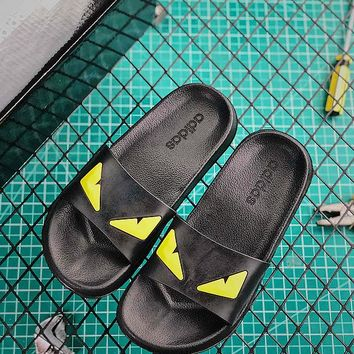 3a8f3c7eb7f0 Adidas Original Adilette Sandals Black Yellow Slides - Best Online Sale