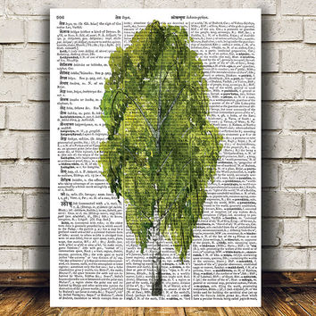 Dictionary print Birch tree art Tree poster Watercolor print RTA1300