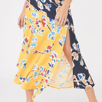Mixed Print Asymmetric Hem Split Skirt in Yellow & Navy Floral