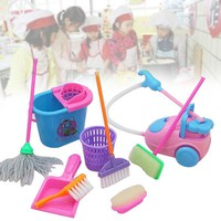9Pcs/Set Pretend Play Toy Cleaning Mop Broom Tools Pretend Play Furniture Toys Kit Toys For Children Girls Kids