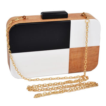 Fashion lovely Black White Evening Clutch Bag Wood Lattice Chain Handbag Lady Envelope