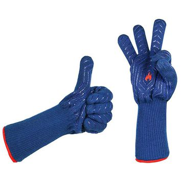1 pair blue heat resistant insulation grill microwave oven mitts gloves for kitchen bbq cooking baking tools glove mitt