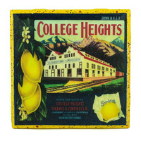 College Heights Lemons Brand - Vintage Citrus Crate Label - Handmade Recycled Tile Coaster