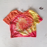 Tie Dye Crop Top Shirt Orange Yellow Red Tye Dyed Tumblr Rave Crop Top Size S