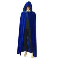 Halloween Costume Wicca Robe Medieval Witchcraft Cape Gothic Hooded Velvet Cloak