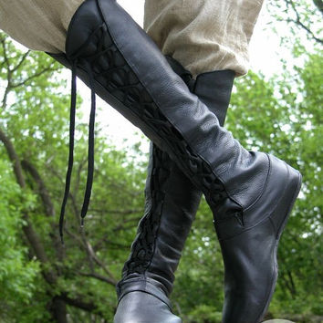 "SALE! DISCOUNT! FIXED size! Ready to ship! Brown Medieval High Leather Boots ""Forest"""