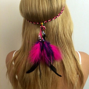 Coachella, Festival Rainbow, bright, vivid, colorful, feather, feathers, feather headband, Feather hair comb, bridal hair comb, feather exte