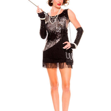 Black Sequined Fringed Dress Flapper Costume