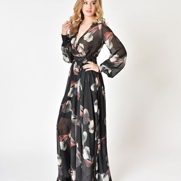 1970s Style Grey Calla Lily Long Sleeve V-Neck Maxi Dress
