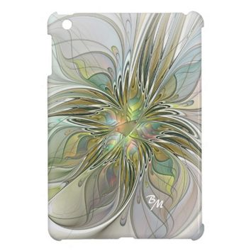 Floral Fantasy, Abstract Fractal Art Monogram iPad Mini Covers