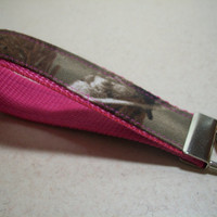 Camo Keychain, Key Wristlet, You Choose Webbing Color