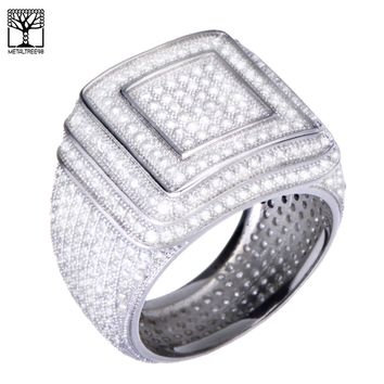 Jewelry Kay style Men's Hip Hop 14k Gold Plated All Around CZ Band Double Square Style Pinky Ring