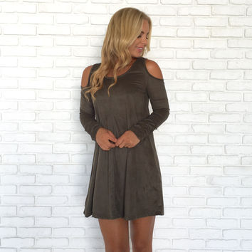 Element Cold Shoulder Suede Dress In Olive