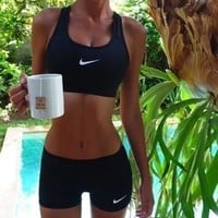 """NIKE"" Fashion Sport Vest Tank Top Bra Shorts Underwear Set Two-Piece Sportswear"