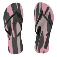 Pink and Black Camouflage Abstract Flip Flops