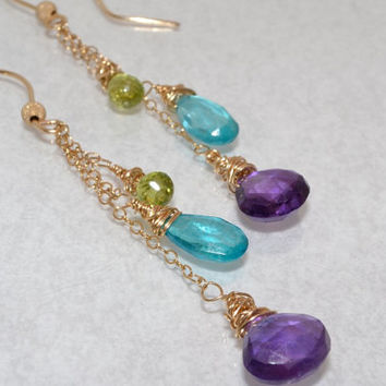 Amethyst, Peridot, Apatite Blue Quartz, Gold Chain Dangle Earrings, AAA Gemstones, February Birthstone, August Birthstone