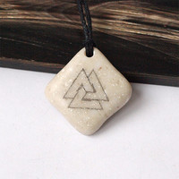 Valknut, Valknut necklace, Valknut pendant, Valknut jewelry, Norse necklace, Norse pendant, Norse jewelry, Scrimshaw jewelry, Stone necklace
