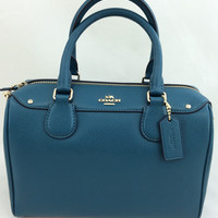 New Authentic Coach F36624 Mini Bennett Satchel Shoulder Bag Crossgrain leather in Atlantic Blue