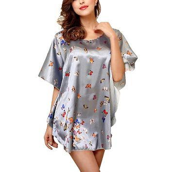 Women Underwear Sexy Lingerie Bathrobe Corset Sleeping Wear Women Nightdress Faux Silk Sleepwear Bat Sleeve Nightgown Beauty