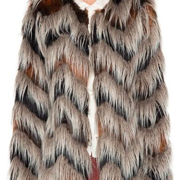 Willow & Clay Chevron Faux Fur Jacket | Nordstrom