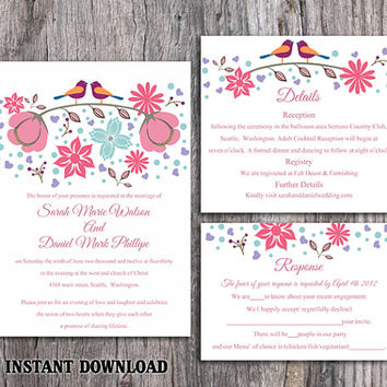 DIY Wedding Invitation Template Set Editable Word File Instant Download Printable Colorful Bird Wedding Invitation Coral Floral Invitation