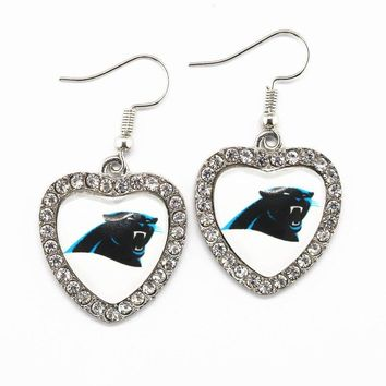 Hot Sale 6pairs Crystal Heart Earring Football Sports Carolina Panthers Team Long Earrings Charms For Women Earring Jewelry